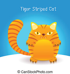 cute tiger stripes cat on blue  background