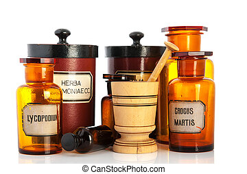 apothecary pots with ingredients for medicins isolated over...
