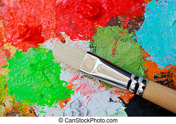 Paintbrush and colors - Paintbrush on colorful palette