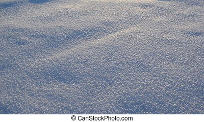 snow winter lake sun - fluffy friable snow footprints on...