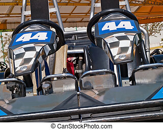 double go kart - empty double go kart wait two drivers