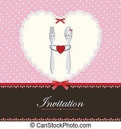Greeting card or menu design with heart fork and spoon in...