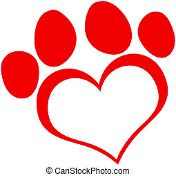 Red Love Paw Print Cartoon Character