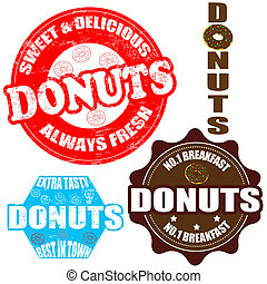 Set of donuts stamps and label - Set of donuts grunge rubber...