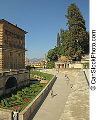 Boboli Garden in Florence - Pitti Palace seen from Boboli...