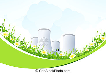 Abstract Background with Nuclear Power Plant and Grass -...