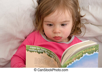 Sleep Time Stories - Cute Ttoddler reading her stories...