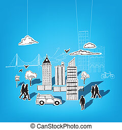 Paper City Vector Elements City lifestyle, cut out paper and...