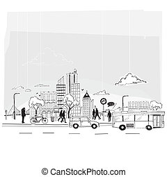 Paper City Vector. City lifestyle, cut out paper and pen...
