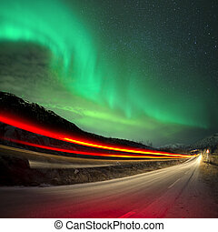 Northern Lights and trails, Northern Norway.
