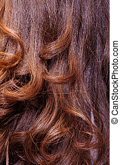 Background of wavy auburn hair - Background of long healthy...