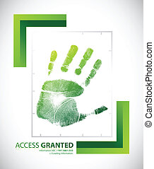 Biometric palm scanning screen with access granted