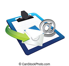 contact us clipboard illustration design over a white...