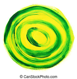 Oil-painted abstract target - Green and yellow oil-painted...