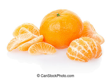 Tangerine and segments on white - Tangerine or mandarin...
