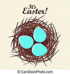 Eggs in nest Easter concept