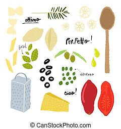 Italian cuisine ingredients - AI8 compatibile vector file...