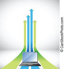 laptop Arrow rising toward same direction success