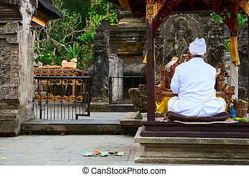 Balinese priest on a religious ceremony - Balinese...