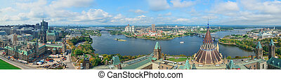 Ottawa cityscape panorama in the day over river with...