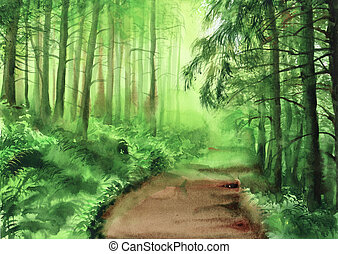 Green misty forest - Watercolor painting of green misty...