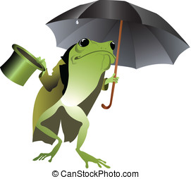 Frog with umbrella - It rains - Frog with black umbrella,...