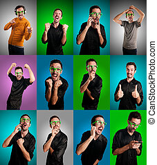 set of men with different expressions on colorful...