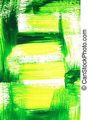 Vibrant green and yellow brush strokes