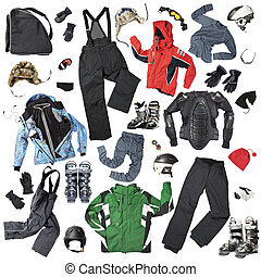 Skiers clothes - The set of all necessary men, women and...