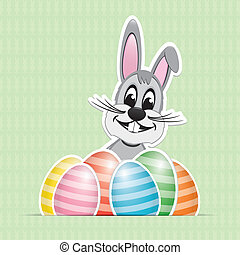 colorful white striped easter eggs bunny background