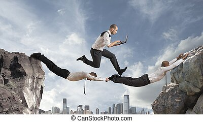 Teamwork concept - Concept of teamwork with two businessman...
