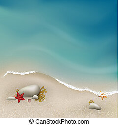 Seaside view with rocks, sea grass and starfishes. Vector....