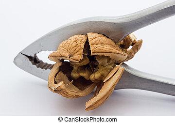 Nutcracker - A close up view of a nutcracker crushing a nut