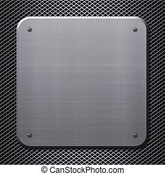 Metal plate with rivets on metal mesh background or texture