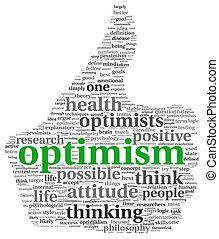 optimisme, concept, Étiquette, nuage