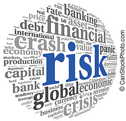 Risk in economy and finance concept on white - Risk in...