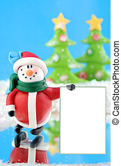 winter wonderland - fantasy wonderland scene with snowman...