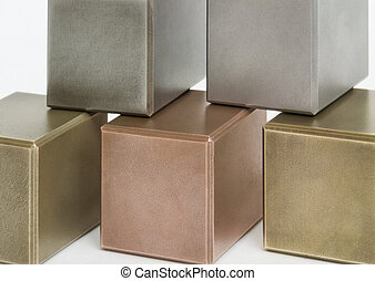 metallic cubes - some metallic cubes in light back