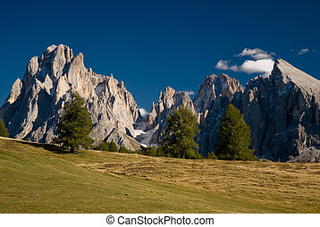 Seiser alm - Dolomite peaks with field and lonely trees....
