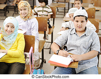 Arabic middle eastern students at school