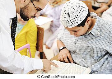 Corán, escuela, lectura, niños, aula