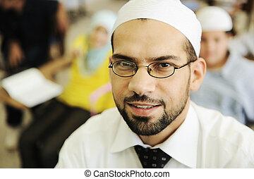 muçulmano, Árabe, crianças, professor,...