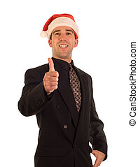 Christmas Businessman - A young businessman wearing a...