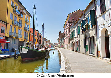 Panoramic view of Comacchio Emilia-Romagna Italy