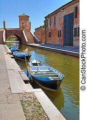 Panoramic view of Comacchio. Emilia-Romagna. Italy.