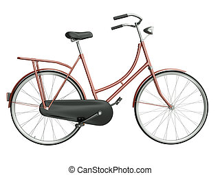 Red bicycle isolated on white background. 3D render.
