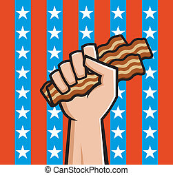 American Bacon - Fist full of bacon in front of American...