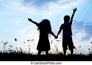 Happy children together splashing water - Happy children...