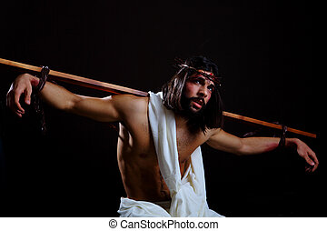 Jesus Crucifixion with a cross on his back