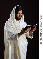 Jesus Christ of Nazareth reading a prayer